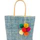 Shebobo Inverness Diamond Straw Basket-Blue