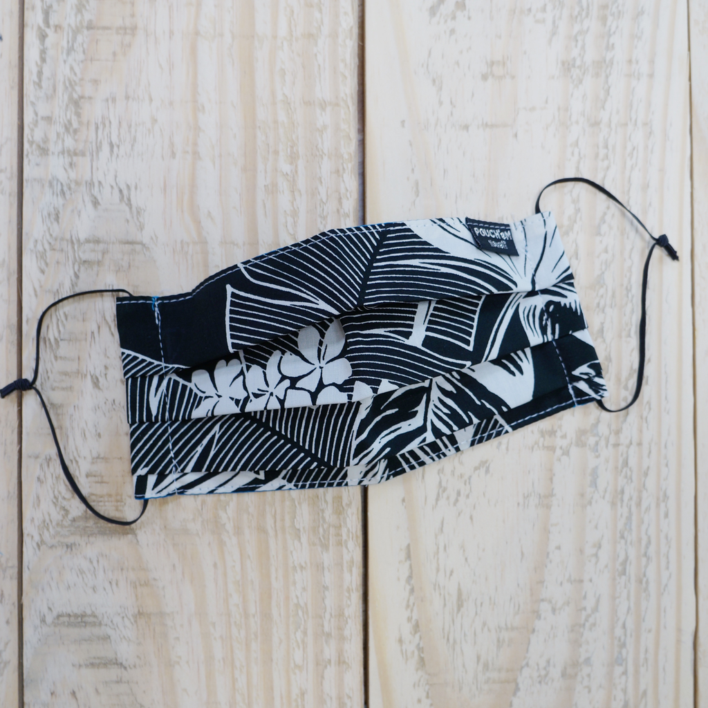 Pouch Em Hawaii HANDMADE FACE MASK: BLACK FLOWERS/LEAVES