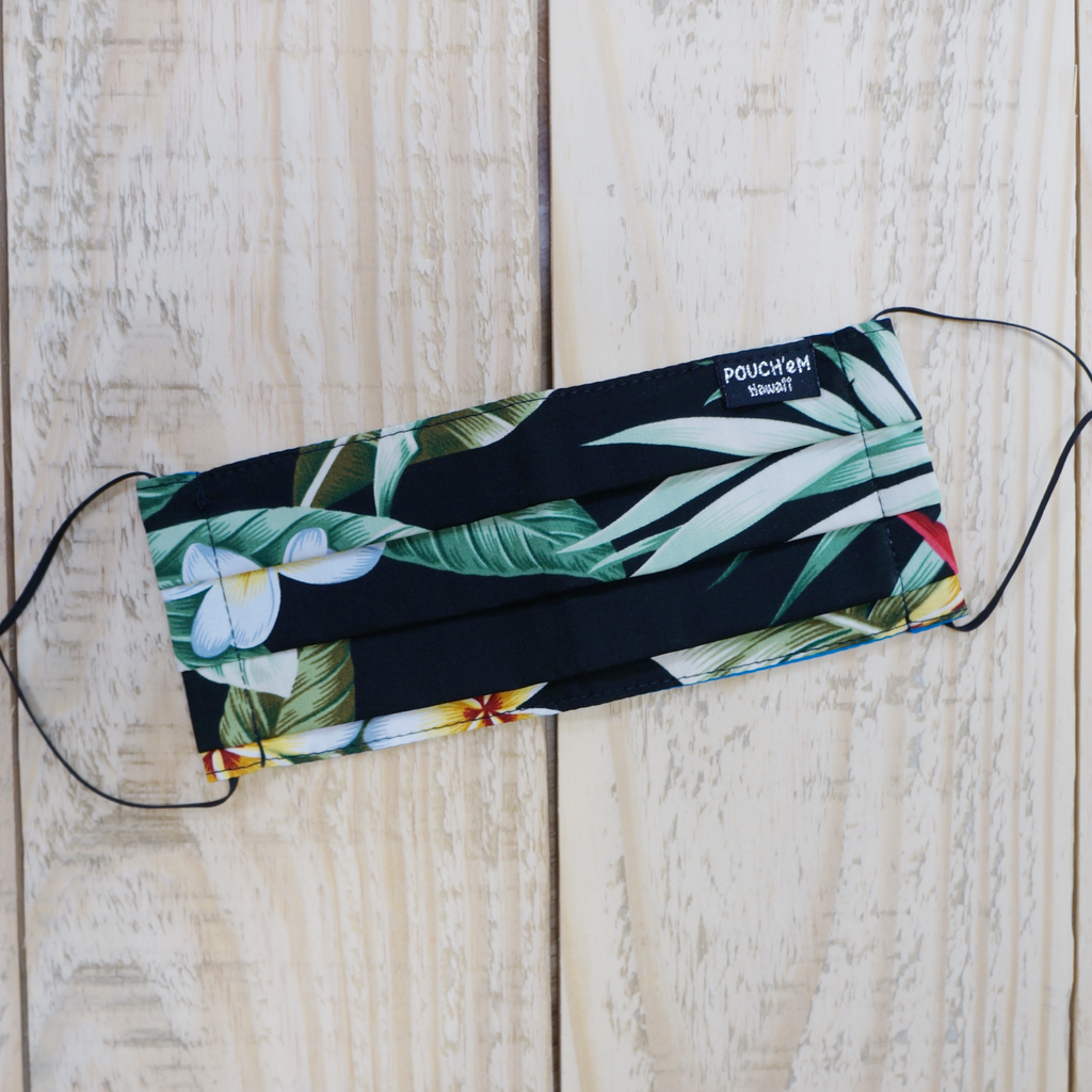 Pouch Em Hawaii HANDMADE FACE MASK: TROPICAL BLACK