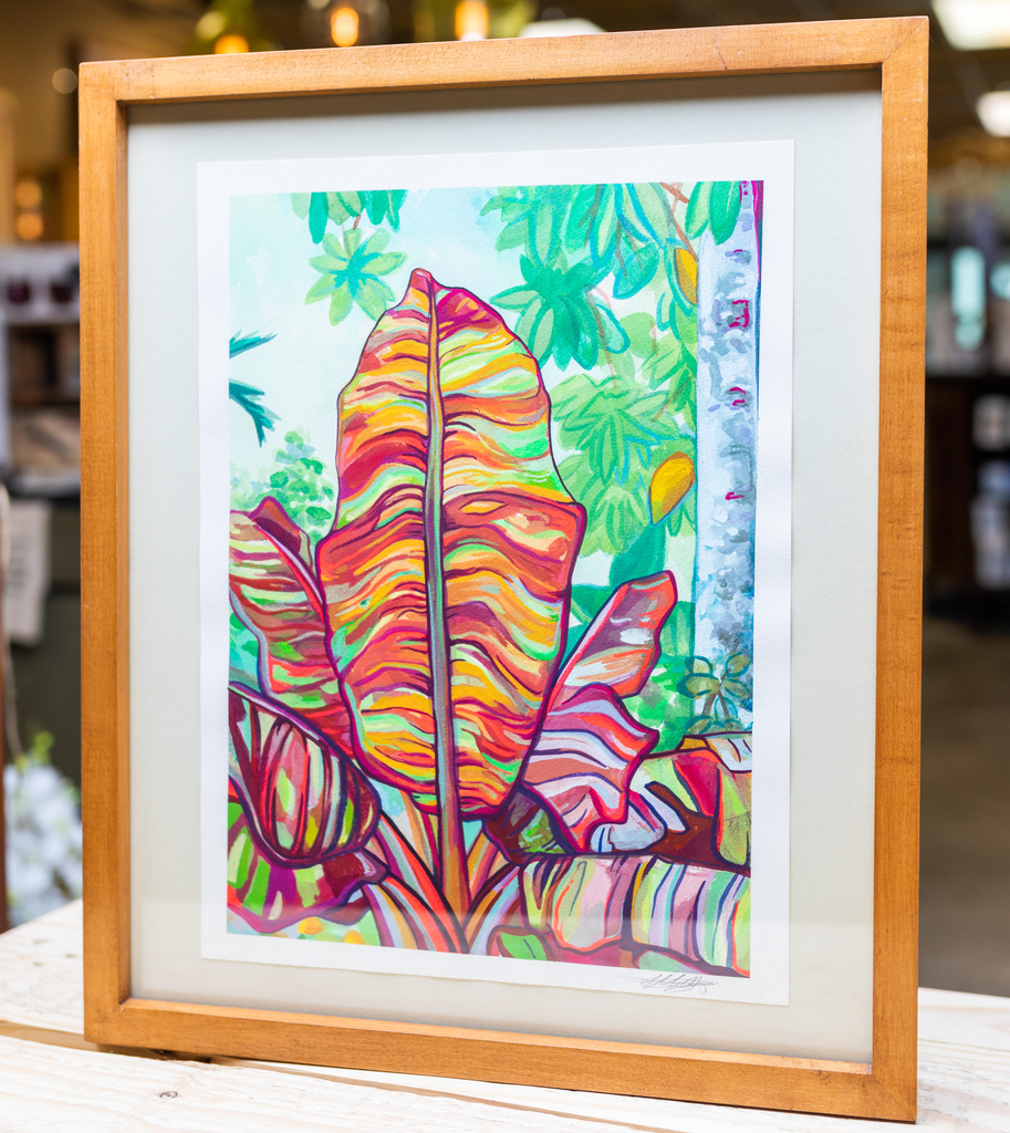 "Miriam Zora Engel VARIEGATED BANANA LEAVES, FRAMED ORIGINAL GOUACHE PAINTING,APPROX. 15.5"" X 18.75"" WITH FRAME"