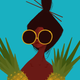 Punky Aloha PINEAPPLE GIRL, 11X14 MATTED PRINT