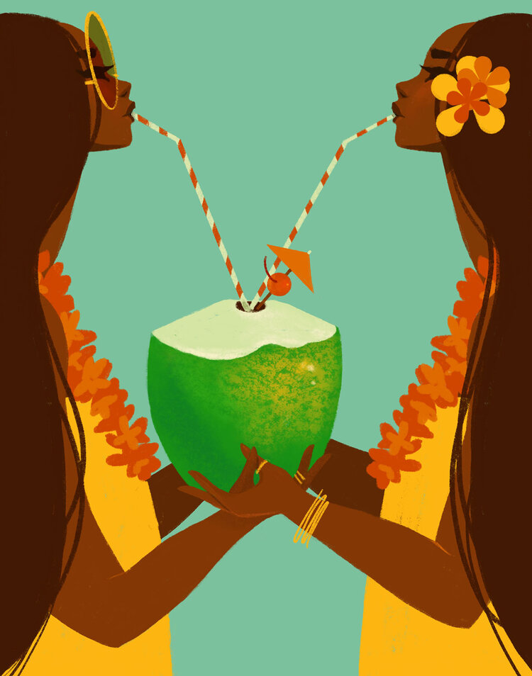 Punky Aloha COCO TWINS, 16X20 MATTED PRINT