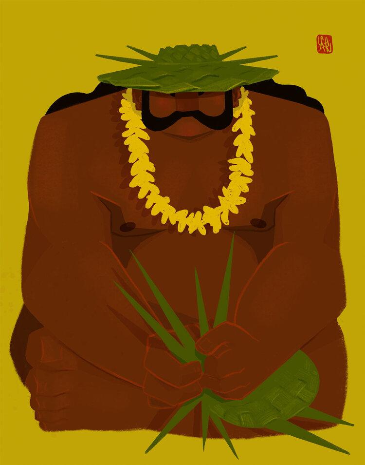 Punky Aloha THE WEAVER, 16X20 MATTED PRINT