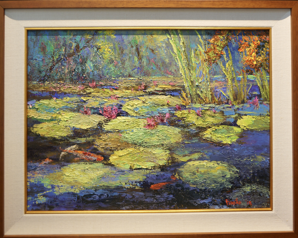 """Ed Furuike AT THE LILY POND, 24""""X18"""" ORIGINAL PALETTE KNIFE OIL PAINTING"""