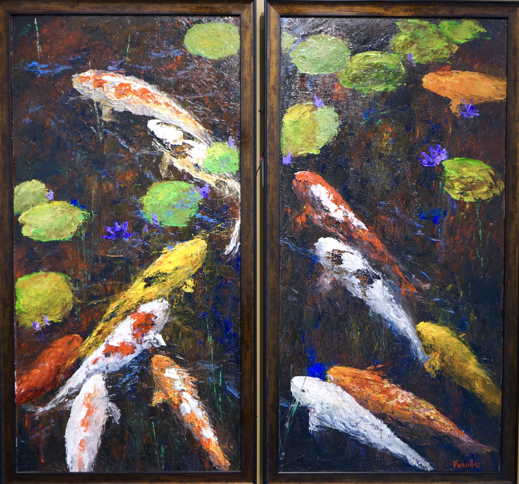 "Ed Furuike THE GATHERING PLACE, DIPTYCH (2 PANELS, 15""X30"" EACH), ORIGINAL PALETTE KNIFE OIL PAINTING"
