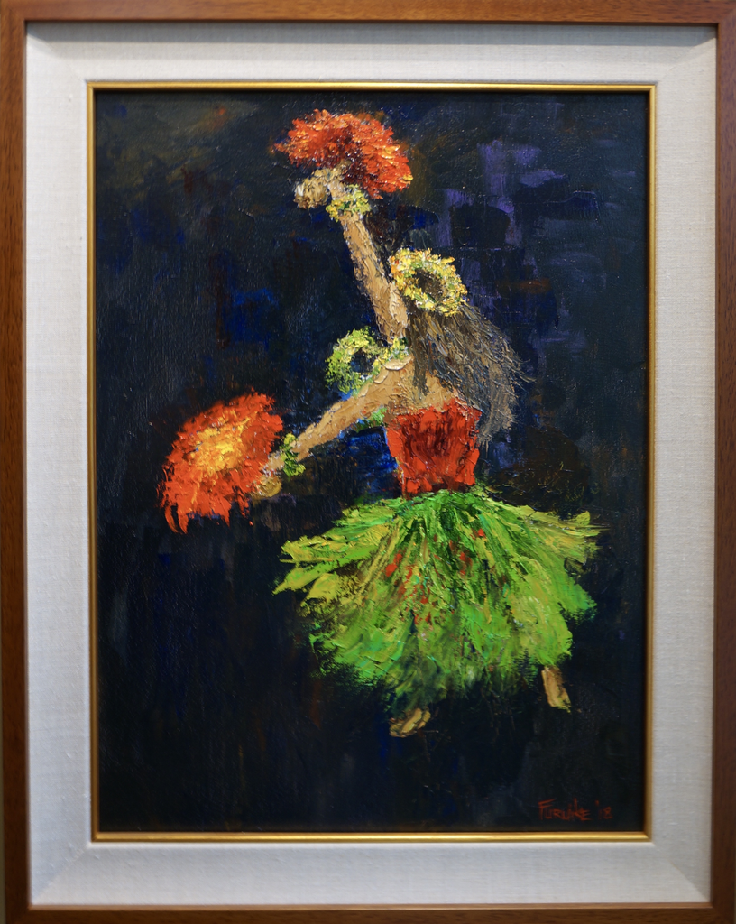 "Ed Furuike HULA 'ULI 'ULI (DANCE OF FEATHERED GOURDS), 18""X24"" ORIGINAL PALETTE KNIFE OIL PAINTING"