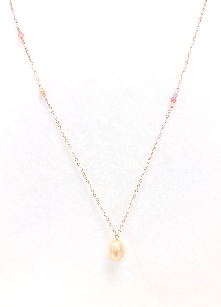 Misha Lam NECKLACE: ALLIE FW PINK PEARL 14KT RGF