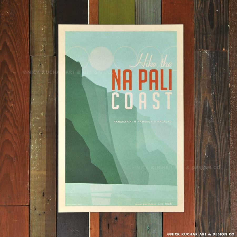 Nick Kuchar 12X18 RETRO TRAVEL PRINT: NA PALI COAST, KAUAI
