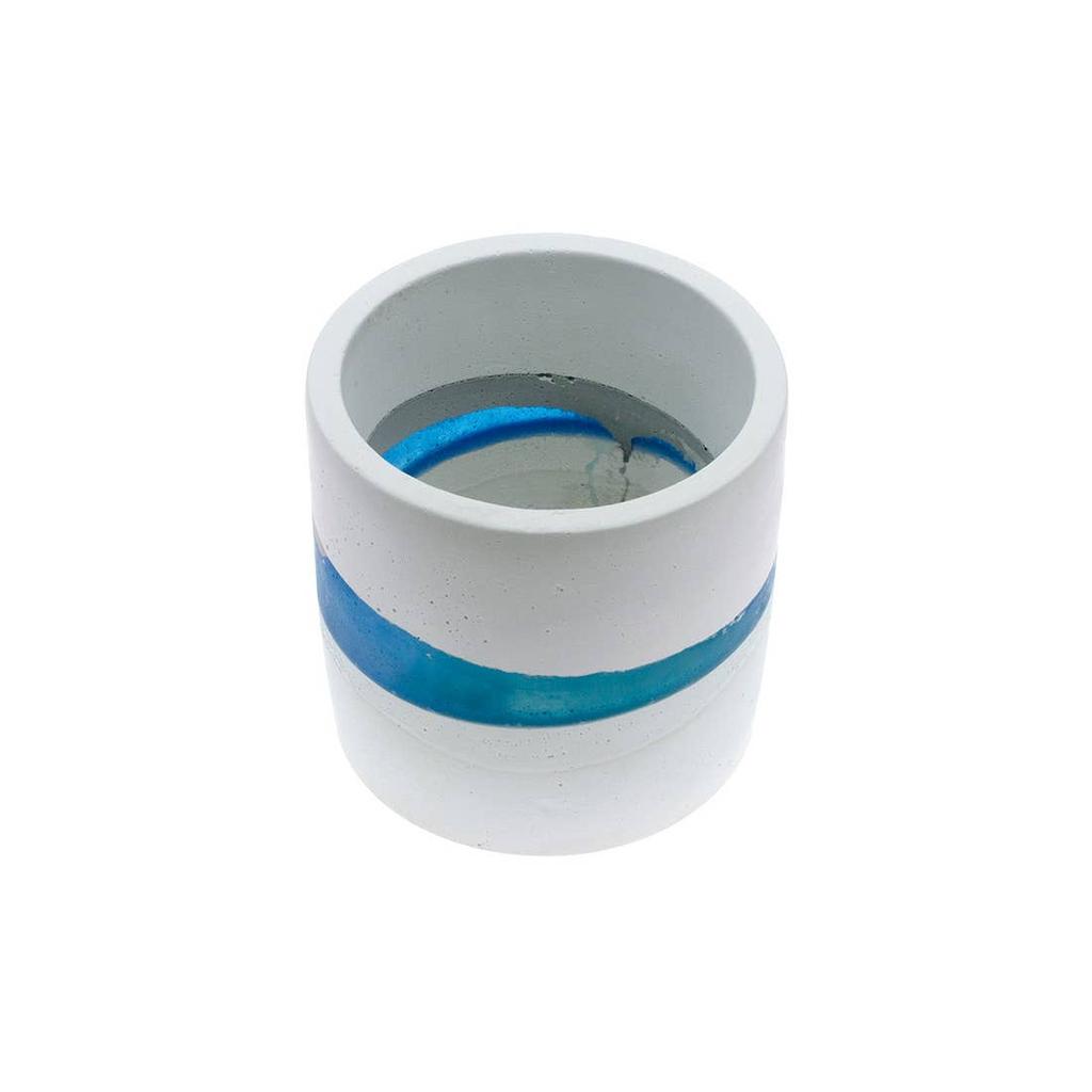 "O Yeah Gifts MEDIUM BLUE STRIPE RESIN PLANTER POT-APPROX 3.25"" HEIGHT"