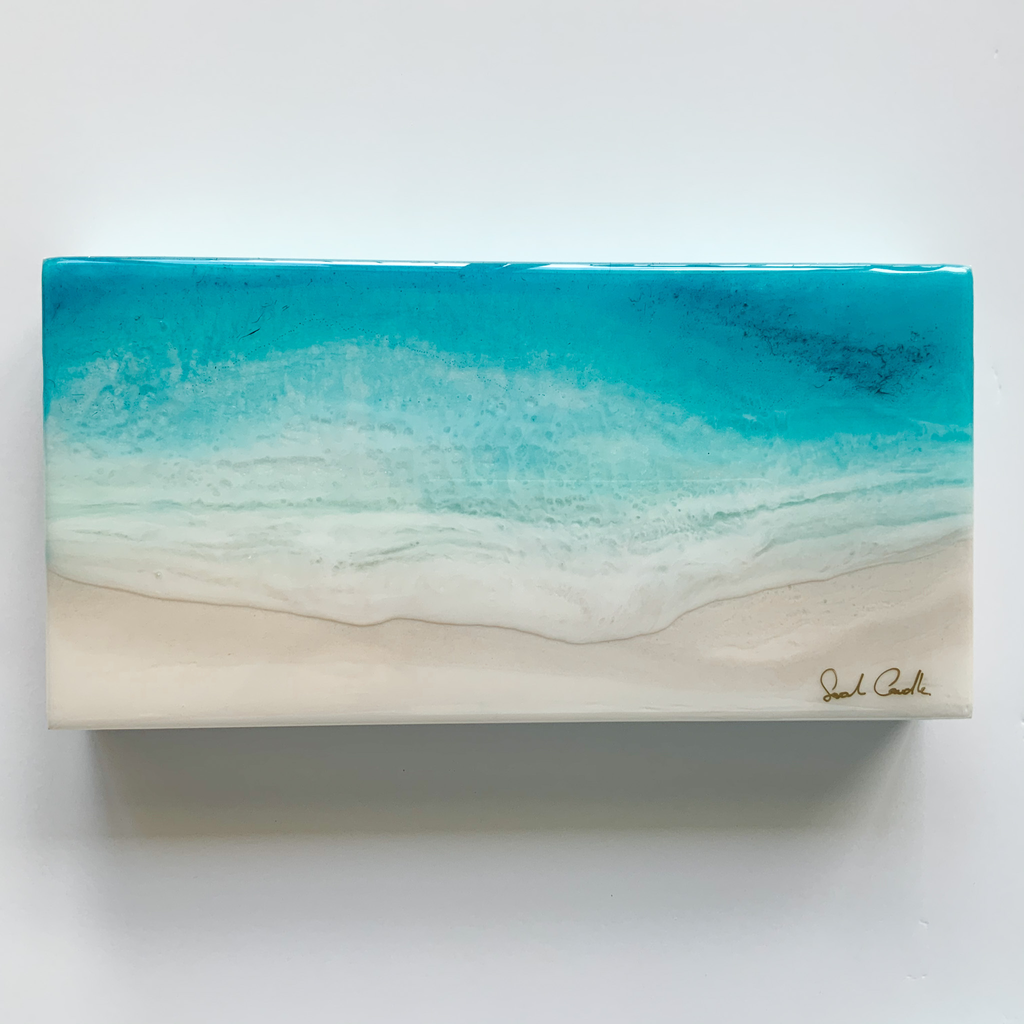 "Sarah Caudle ORIGINAL RESIN PAINTING - FEELING SALTY 3, 6""X12"" UNFRAMED"