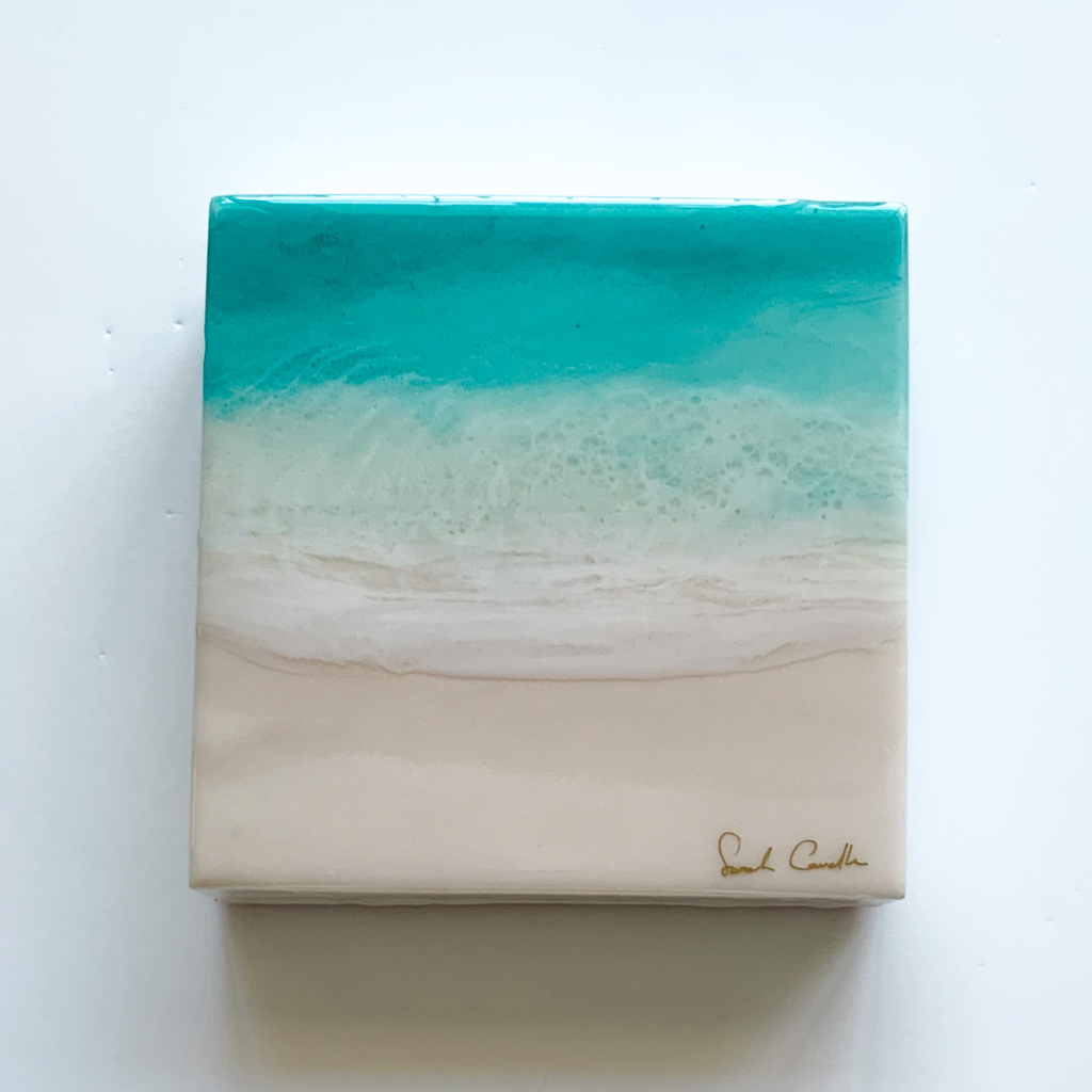 "Sarah Caudle ORIGINAL RESIN PAINTING - FIND A WAY 5, 8""X8"" UNFRAMED"