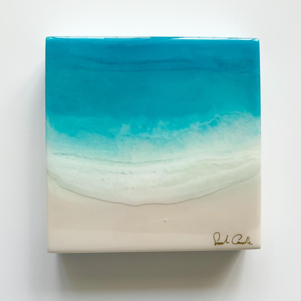 "Sarah Caudle ORIGINAL RESIN PAINTING - FEELING SALTY 1, 8""X8"" UNFRAMED"