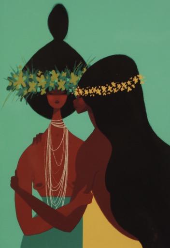 Punky Aloha SISTERS, 11X14 MATTED PRINT