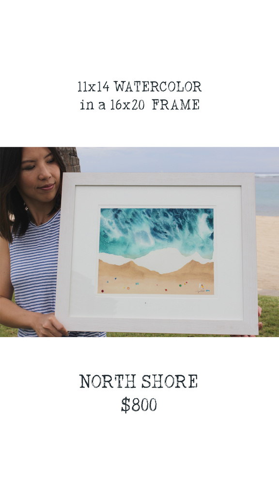 "Janet Meinke-Lau ""NORTH SHORE"", 16""X20"" FRAMED ORIGINAL WATERCOLOR PAINTING"