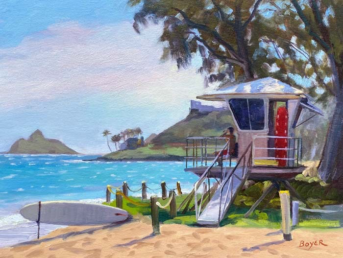 "Lynne Boyer KAILUA BEACH GUARD, 12"" X 16"" ORIGINAL OIL ON CANVAS W/ OMEGA FRAME"