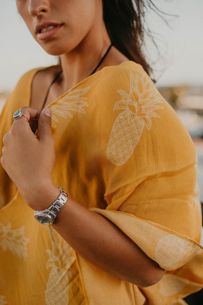 Pineapple Palaka Pineapple Yellow Kimono