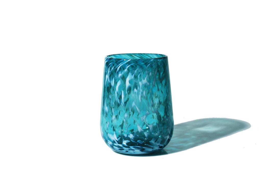 Brad Smith Studios HANDBLOWN GLASS WINE GLASS: WHITE WISP