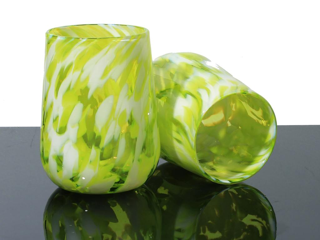 Brad Smith Studios HANDBLOWN GLASS WINE GLASS: LIME TWIST