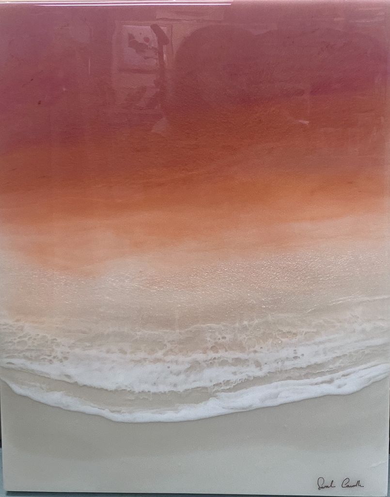 "Sarah Caudle ORIGINAL RESIN PAINTING - SUNSET ORANGE & REDS, 16""X20"" UNFRAMED"