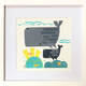 kto ART SPERM WHALES ON THE REEF - 8X8  ORIGINAL FRAMED COLLAGE