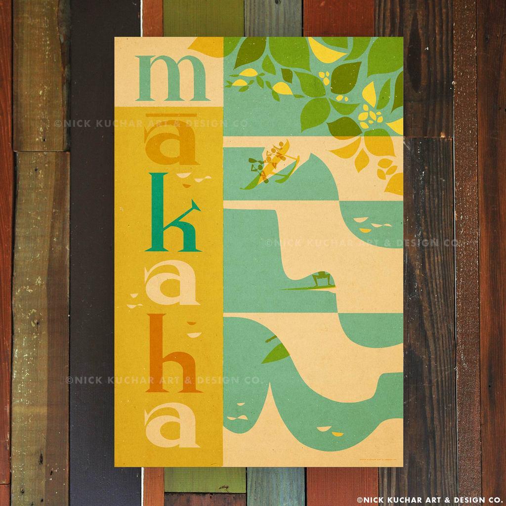 Nick Kuchar 12X18 RETRO TRAVEL PRINT: MAKAHA