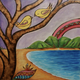 """AG37 Hawaii Creations WOODBURNED & HANDPAINTED WALL PLAQUE: TWO BIRDS (APPROX. 12"""" X 12"""")"""