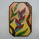 """AG37 Hawaii Creations WOODBURNED & HANDPAINTED WALL PLAQUE: HELICONIA (APPROX. 6.75"""" X 10"""")"""