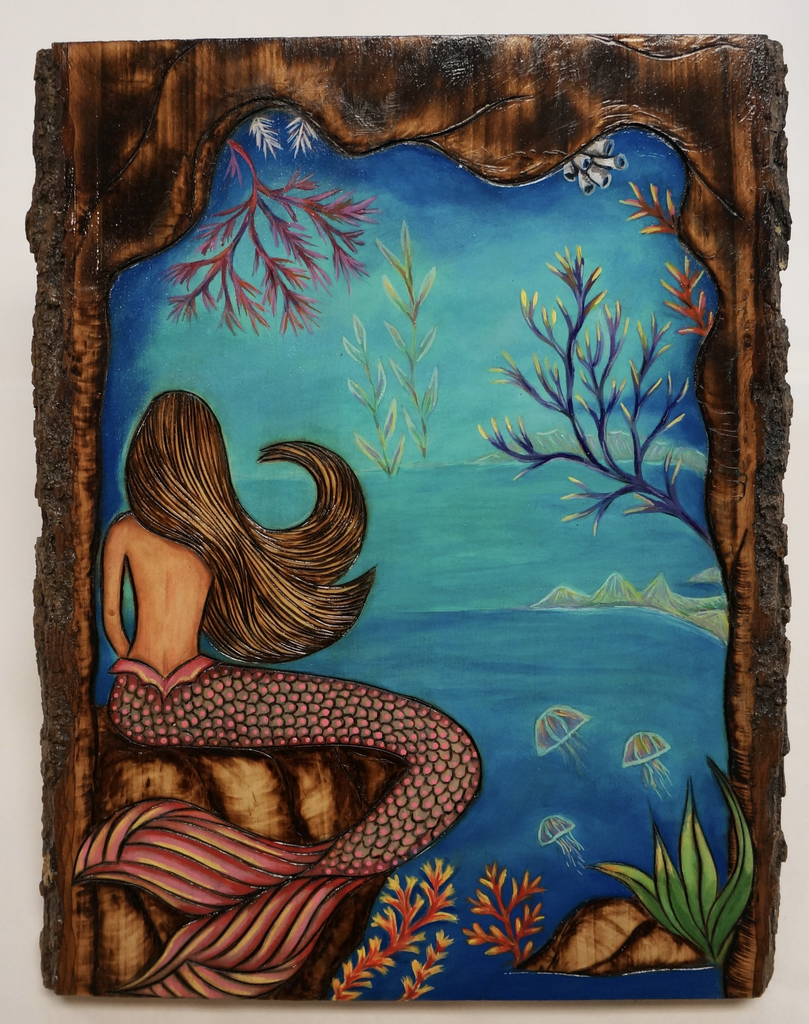 "AG37 Hawaii Creations WOODBURNED & HANDPAINTED WALL PLAQUE: MERMAID ON WALNUT WOOD (APPROX. 11"" X 13"")"