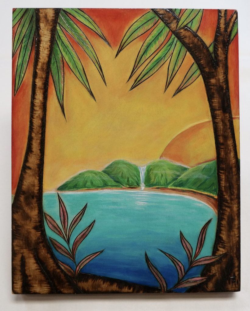 "AG37 Hawaii Creations WOODBURNED & HANDPAINTED WALL PLAQUE: MOUNTAIN SUN (APPROX. 8"" X 10"")"