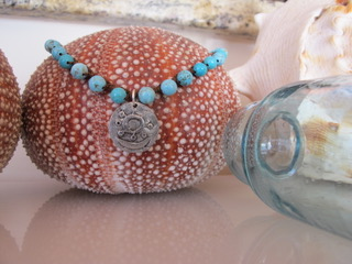 """MiNei Designs Necklace:16"""" Turquoise Beads with Sliver Pendant"""