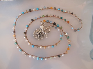 """MiNei Designs Necklace: 20"""" Spring Fling Tourmalines and Turquoise with Sliver Pendant"""