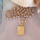 MiNei Designs Necklace: Beige Freshwater Pearls with Gold Artisan Tree of Life Pendant