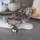 """MiNei Designs Necklace: 16"""" Lace Agate and Bone Beads with Tahitian Pearl Necklace"""