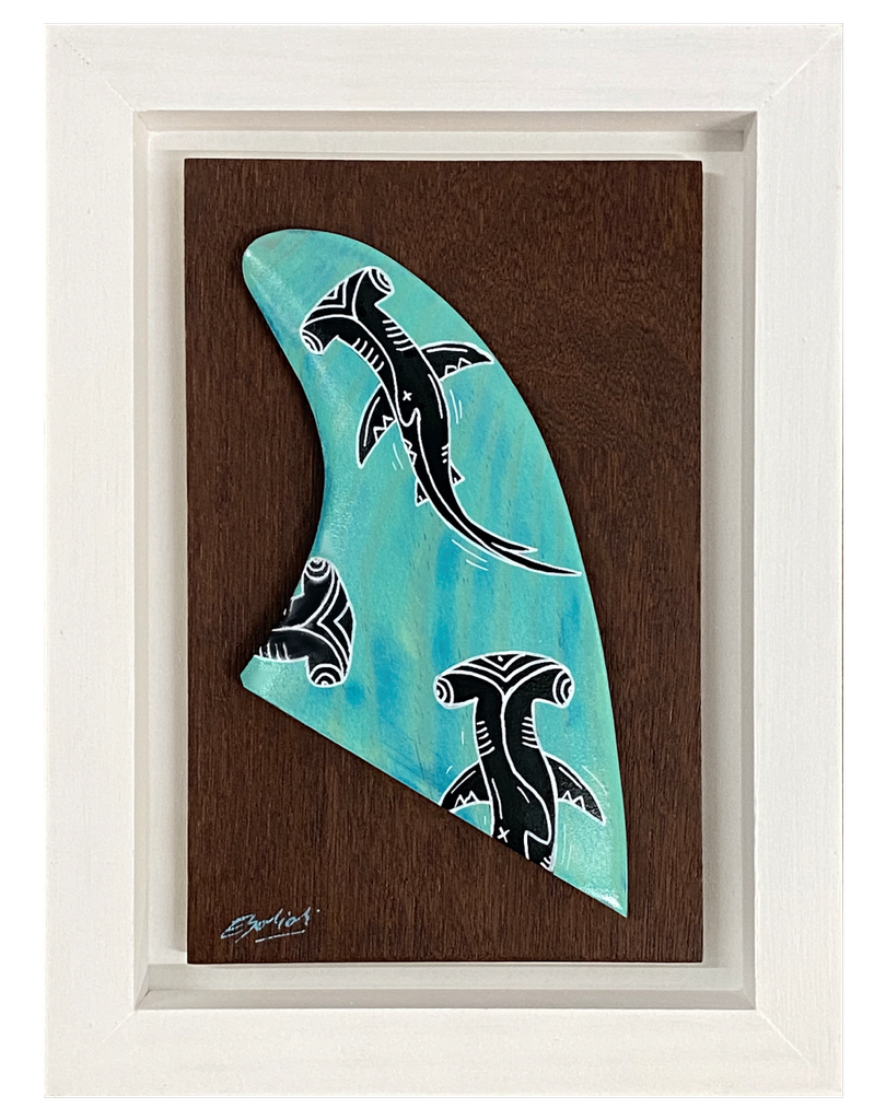 "Eduardo Bolioli SHARK FIN ORIGINAL PAINTING ON HANDCARVED SURF FIN WITH HANDMADE FRAME, APPROX. 8"" X 11"""