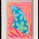 "Eduardo Bolioli FLOWER POWER FIN ORIGINAL PAINTING ON HANDCARVED SURF FIN WITH HANDMADE FRAME, APPROX. 8"" X 11"""