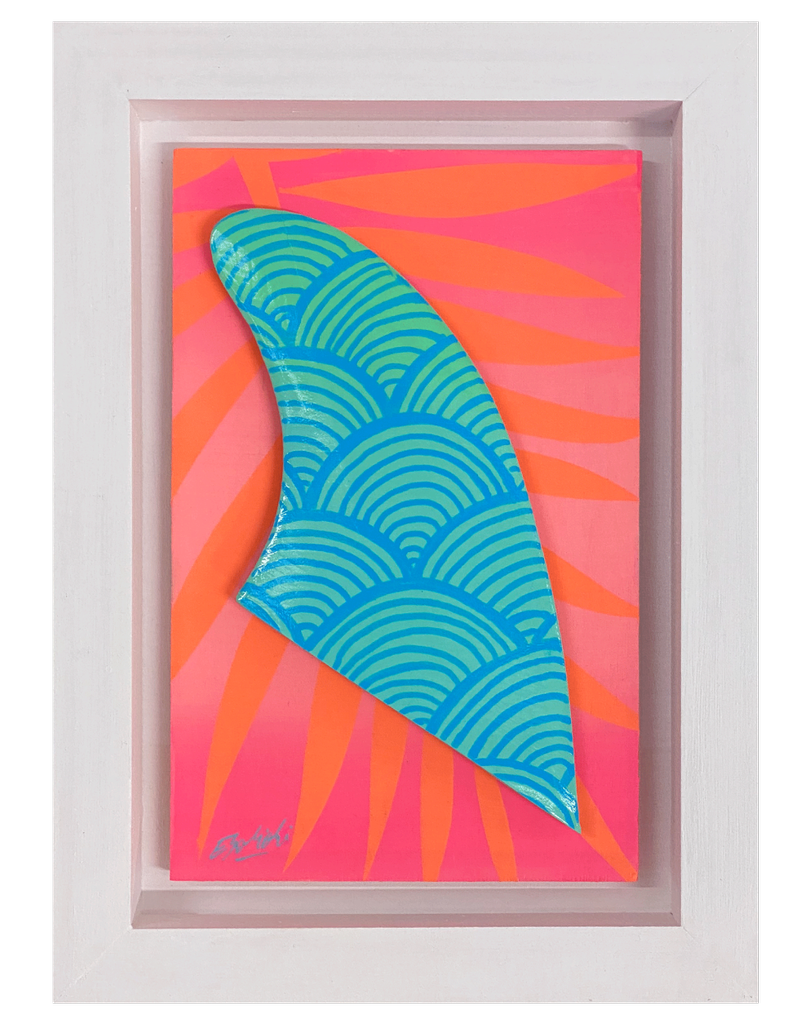 """Eduardo Bolioli WAVY FIN ORIGINAL PAINTING ON HANDCARVED SURF FIN WITH HANDMADE FRAME, APPROX. 8"""" X 11"""""""