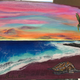 """Christian Bendo COTTON CANDY SKIES (PURPLE HEART), HANDCARVED WOOD WALL PLAQUE - RESIN, HANDPAINTED (APPROX. 14""""X10.5"""")"""
