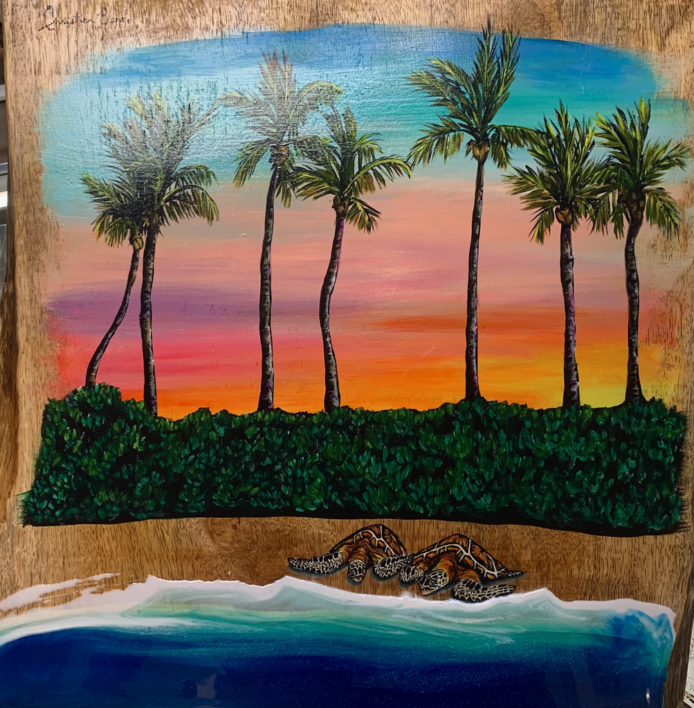 """Christian Bendo MORNING VIBES (MANGO), HANDCARVED WOOD WALL PLAQUE - RESIN, HANDPAINTED (APPROX. 23""""X20"""")"""