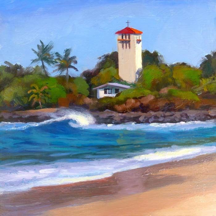 "Lynne Boyer WAIMEA BAY TOWER, 8""X8"" ORIGINAL OIL CANVAS WRAP"