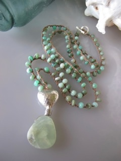 "MiNei Designs #1998 - 34"" Chrysoprase Beads with Artisan Silver Heart and Chrysoprase Pendant"