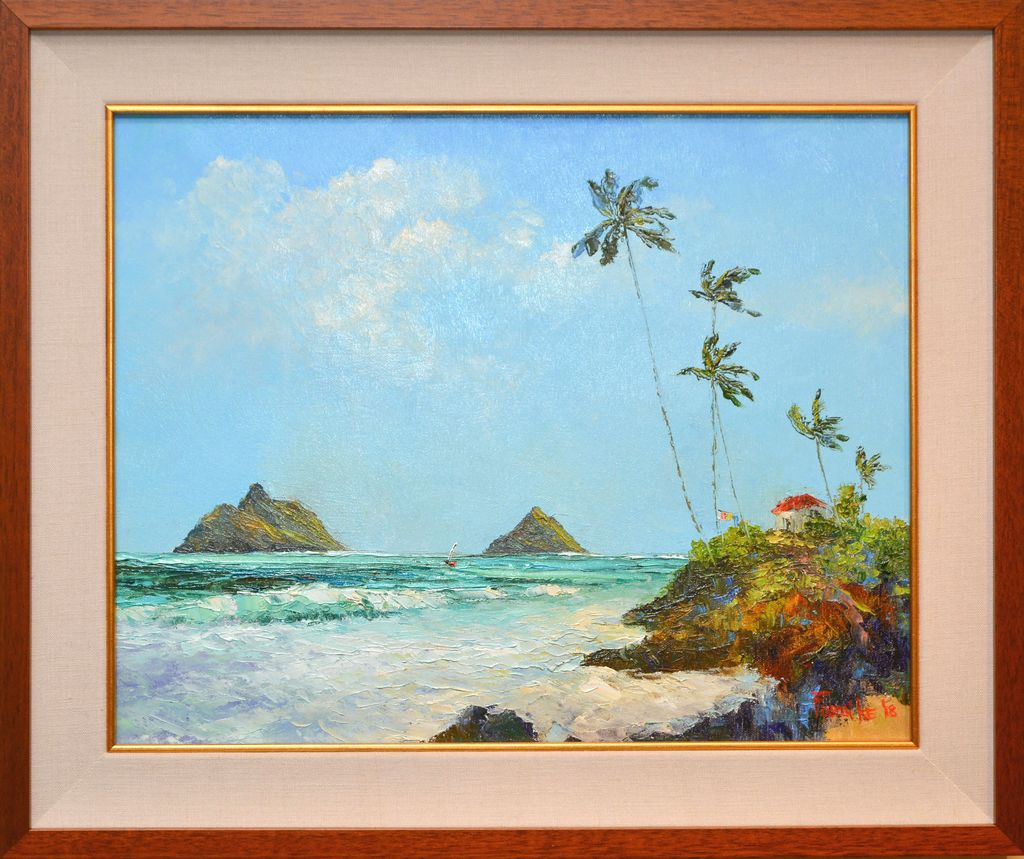 Ed Furuike LAUNDRY DAY IN KAILUA, 16X20 ORIGINAL PALETTE KNIFE OIL PAINTING
