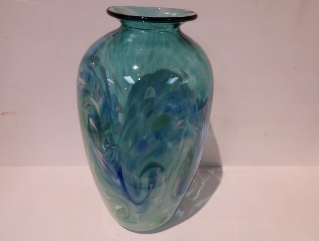 "Emily's Art Glass TAPERED VASE: SURF'S UP, APPROX. 9.5""X5"""
