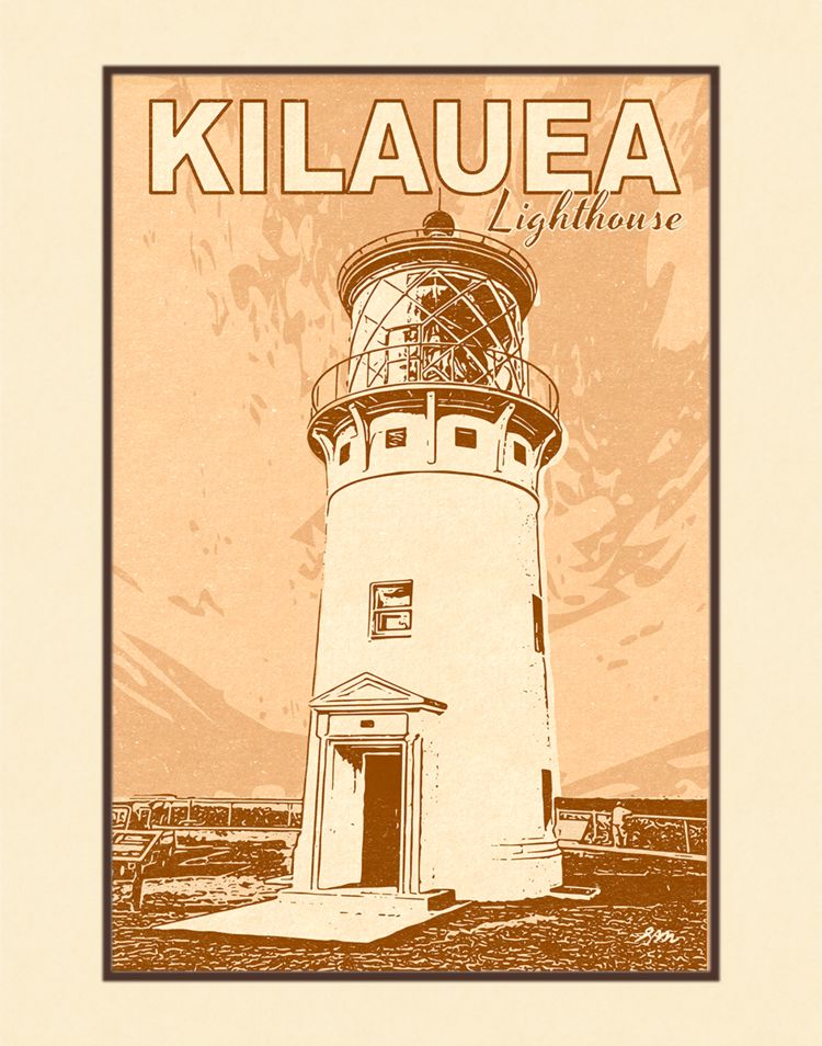 Aloha Posters KILAUEA LIGHTHOUSE  8X10 MATTED PRINT