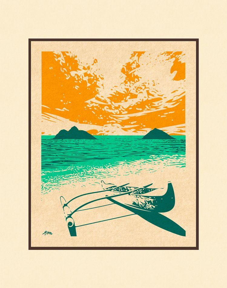 Aloha Posters LANIKAI CANOE  8X10 MATTED PRINT