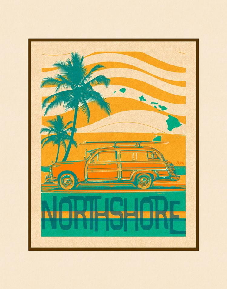 Aloha Posters NORTH SHORE  8X10 MATTED PRINT