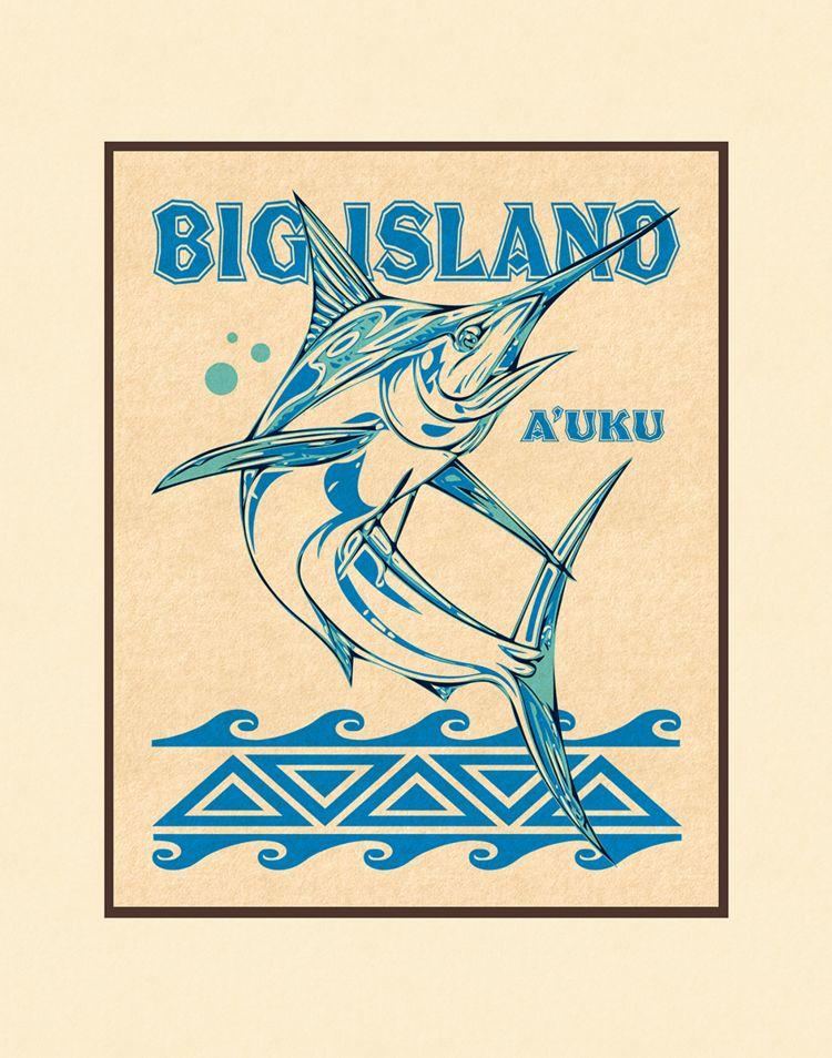Aloha Posters BIG ISLAND A'UKU 11X14 MATTED PRINT