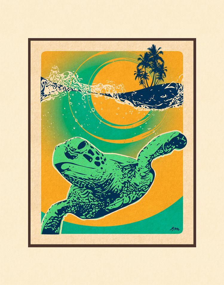 Aloha Posters HONU SURF 11X14 MATTED PRINT