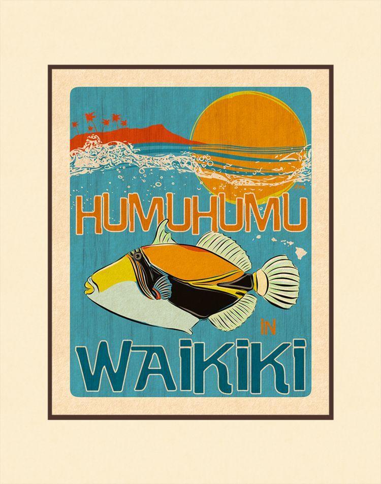 Aloha Posters HUMUHUMU 11X14 MATTED PRINT