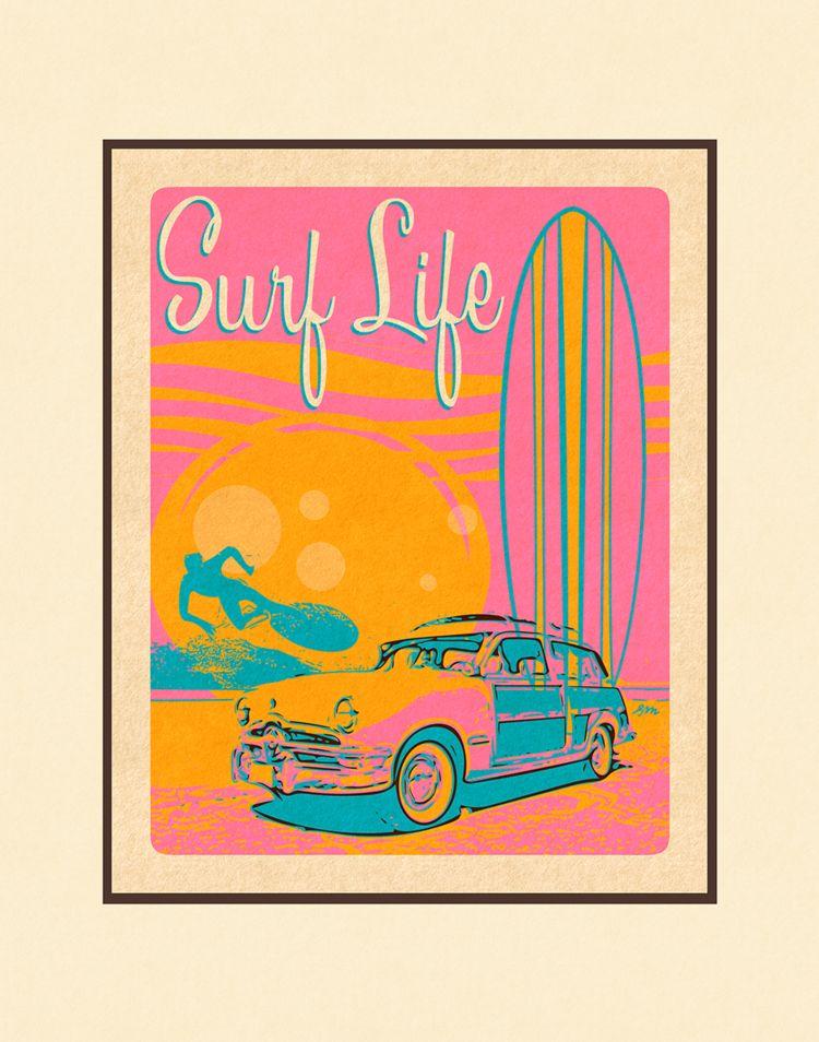 Aloha Posters SURF LIFE 11X14 MATTED PRINT