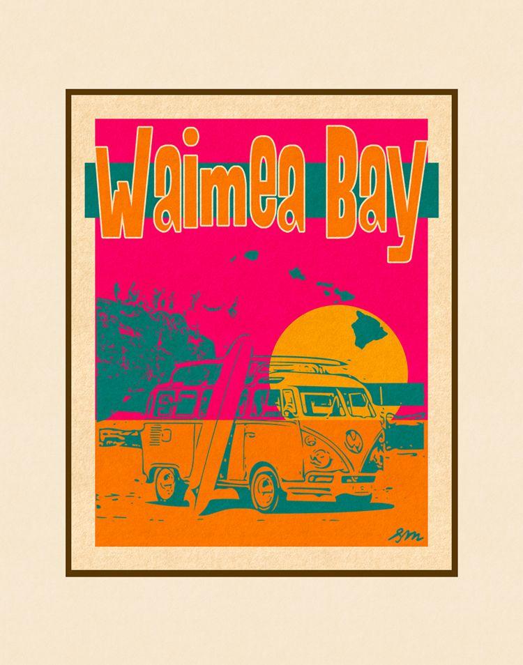 Aloha Posters WAIMEA BAY  11X14 MATTED PRINT